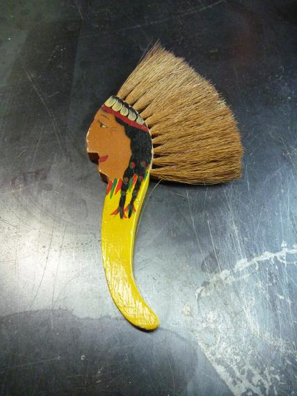vintage brush with native indian face, flamingsteel.com, roy mackey, steel sculpture