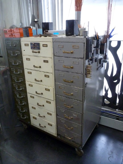 vintage file cabinets, bolt storage solution, flamingsteel.com, steel sculpture, steel art, roy mackey, New York