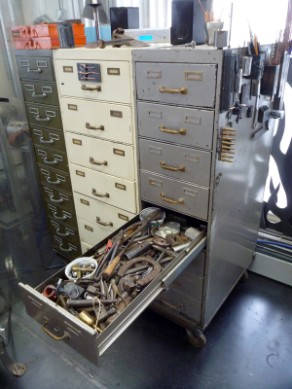 vintage filing cabinets, bolt sorter solution, flamingsteel.com, roy mackey, steel sculpture, steel art