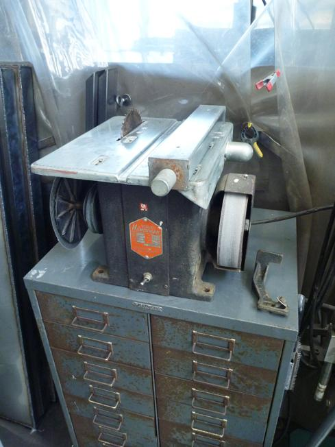 Stanley Handyman table saw bench grinder, flamingsteel.com, steel sculpture, roy mackey