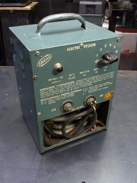 vintage ideal electric etcher, flamingsteel.com, steel sculpture, steel art, roy mackey
