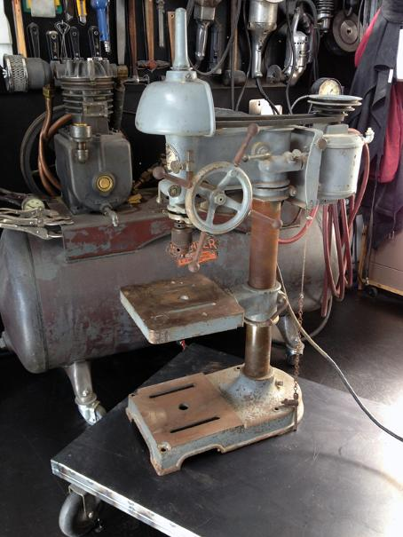 Vintage Walker Turner drill press, flamingsteel.com, roy mackey, steel art