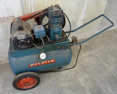 vintage webster air compressor, flamingsteel.com, steel sculpture, steel art, roy mackey