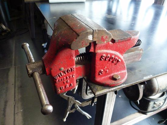 Vintage Wilton Scout vise, flamingsteel.com, steel sculpture, roy mackey