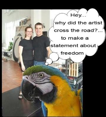 why did the artist cross the road, flamingsteel.com
