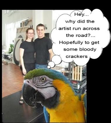 Polly wants a cracker, flamingsteel.com, steel sculpture, steel art, roy mackey