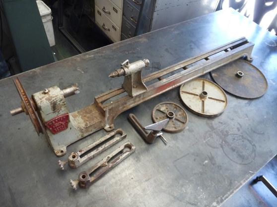 vintage beaver wood lathe, flamingsteel.com, steel sculpture, steel art, roy mackey