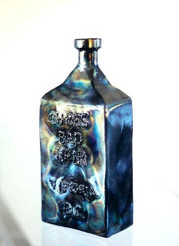 Antique steel medicine bottle, roy mackey, steel art, steel sculpture, flamingsteel.com, vancouver artist