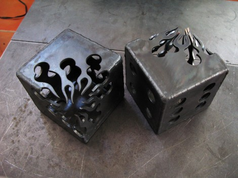flaming steel dice, flamingsteel.com, roy mackey, steel sculpture, steel art, vancouver bc