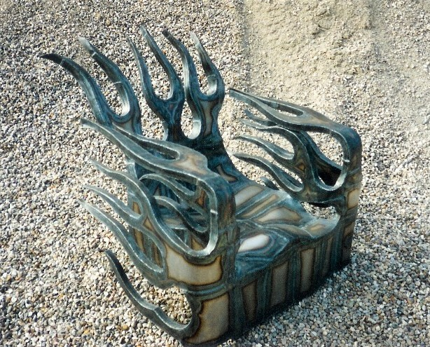 Flame chair, roy mackey, steel sculpture