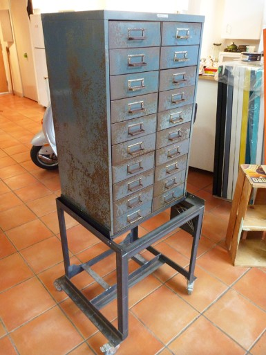 vintage tool cabinet, flamingsteel.com, steel sculpture, steel art, roy mackey
