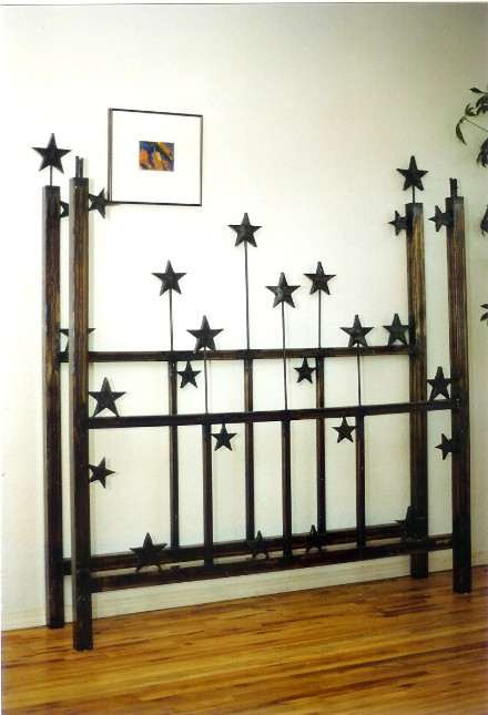 Steel bed with stars, roy mackey, steel sculpture, steel art, flamingsteel.com, vancouver artist