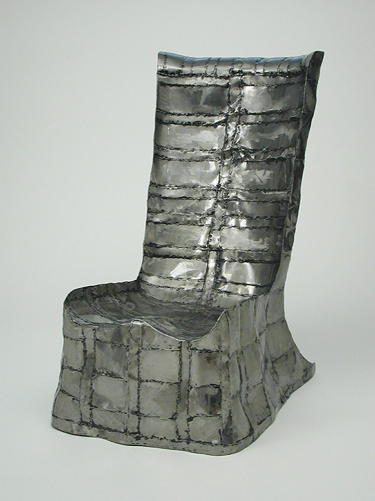 Armless Chair steel sculpture by Roy Mackey