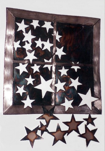 Stars in window, roy mackey, steel sculpture, steel  art, flamingsteel.com, vancouver bc artist