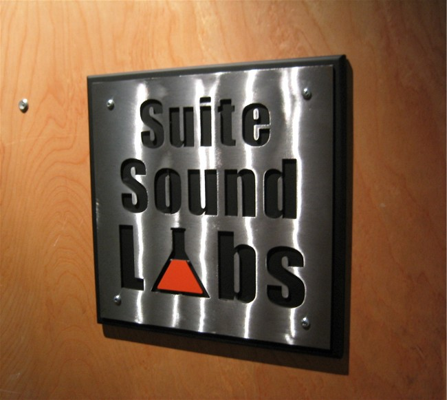 Suite sound labs sign, roy mackey, steel sculpture, steel art, flamingsteel.com, vancouver bc
