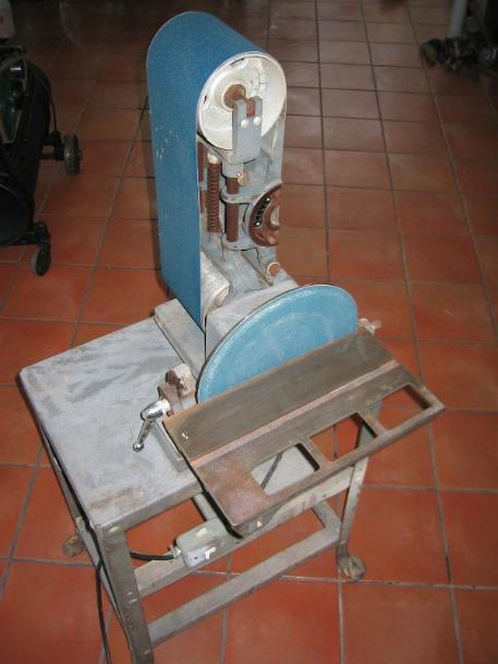rockwell belt disc sander, flamingsteel.com, steel sculpture, steel art, roy mackey