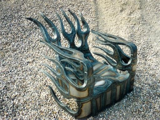 flame chair, flamingsteel.com, roy mackey, steel art, steel sculpture, steel art, Vancovuer bc,